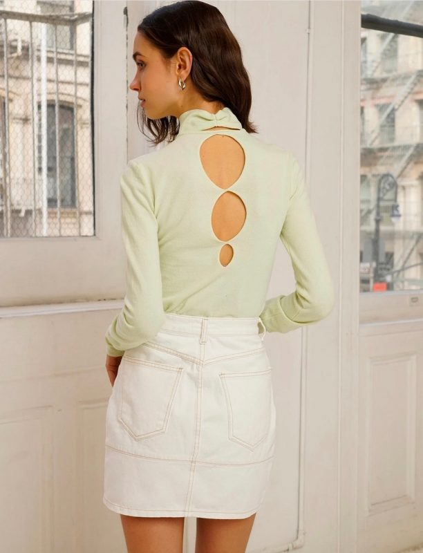 Blessd Circle Cut Out Back Knit Top