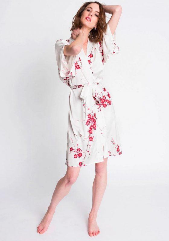 Kim Ono Cherry Blossom Crane Kimono Robe