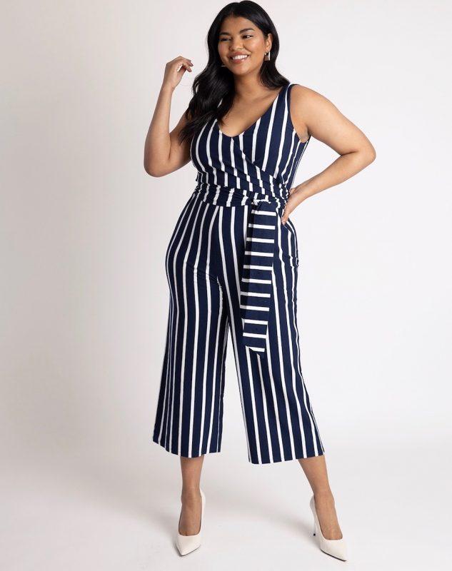 Eloquii Wrap Front Striped Jumpsuit